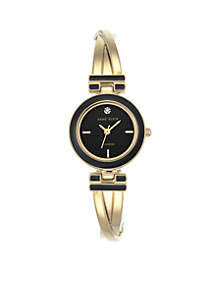 Womens Gold-Tone Black Diam Dial Tristed Bangle Watch
