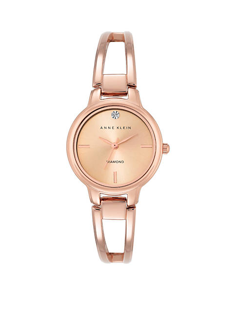 Anne Klein Womens Rose Gold Diam Bangle Watch