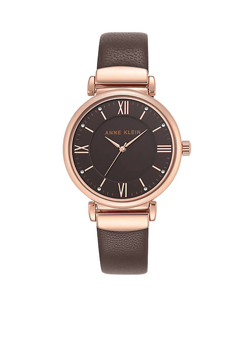 Anne Klein Womens Rose Gold-Tone Brown Leather Watch