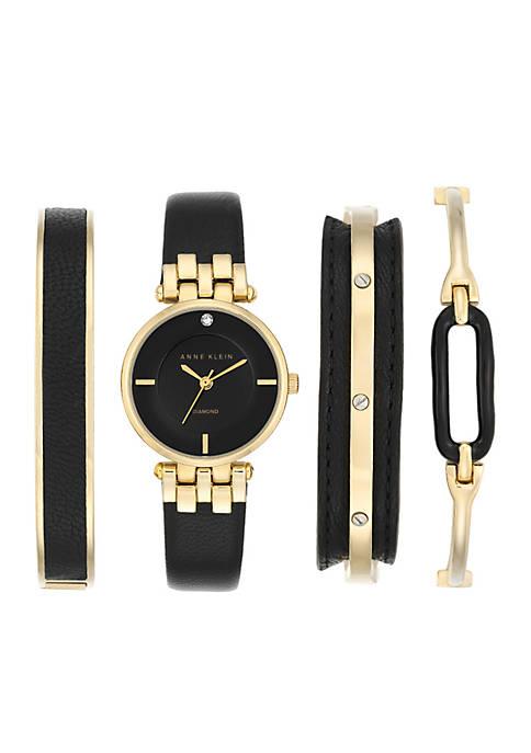 Anne Klein Gold-Tone Diamond Black Watch Box Set