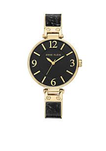Black-Gold Plastic Bangle Watch