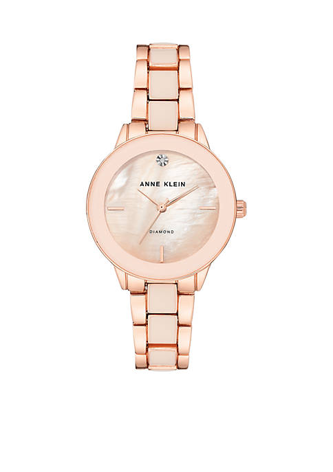 Anne Klein Womens Diamond Dial Resin and Mixed