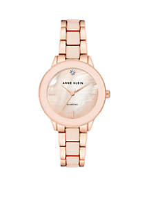 Anne Klein Women's Diamond Dial Resin and Mixed Metal Bracelet Watch