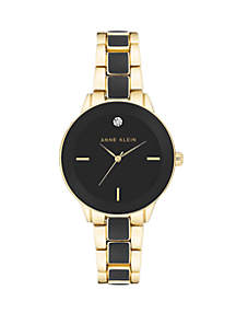 Gold-Tone Diamond Accent Watch