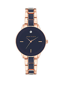 Rose Gold-Tone Diamond Accent Watch