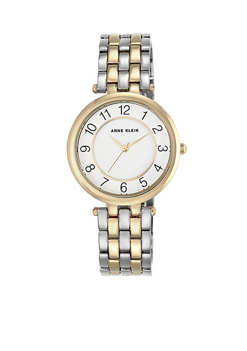 Anne Klein Womens Two-Tone Crystal Watch