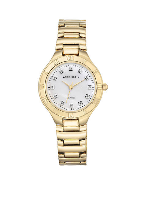 Anne Klein Womens Gold-Tone Diamond Dial Watch