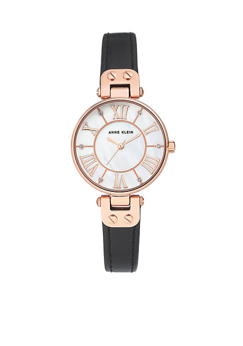 Anne Klein Rose Gold-Tone Case Leather Strap Watch