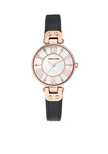 Anne Klein Rose Gold-Tone Case Leather Strap Watch