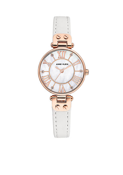 Anne Klein Gold-Tone Case Leather Strap Watch