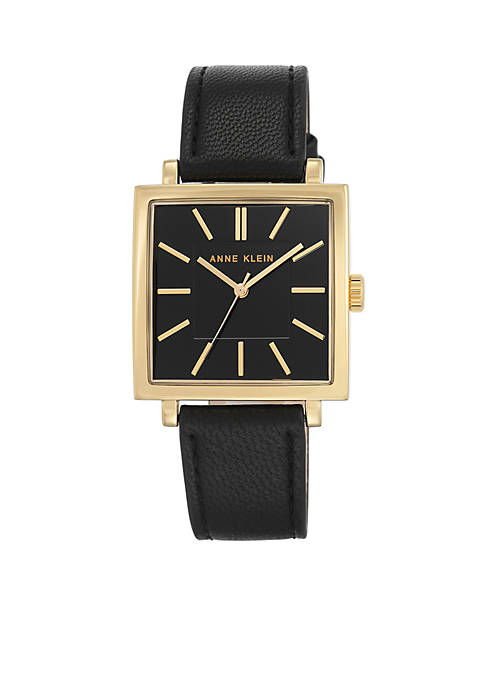 Gold-Tone SQ Tank Black Leather Watch