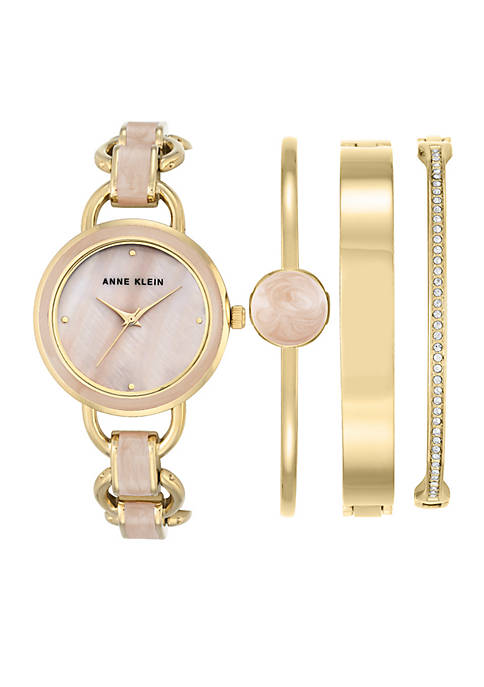 Anne Klein Gold-Tone Blush Watch Boxed Set