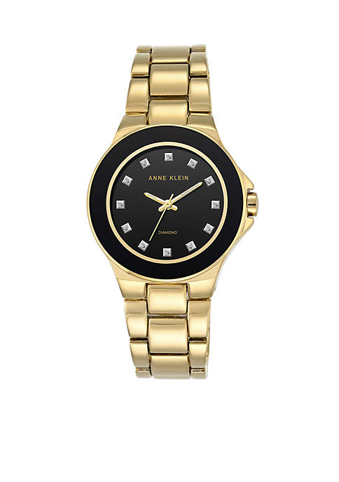 Anne Klein Womens Gold-Tone Diamond Watch