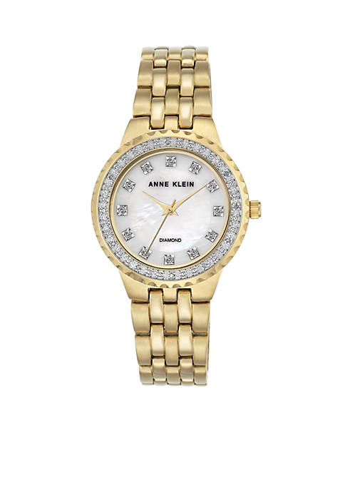 Anne Klein Gold-Tone Diam Dial Link Watch