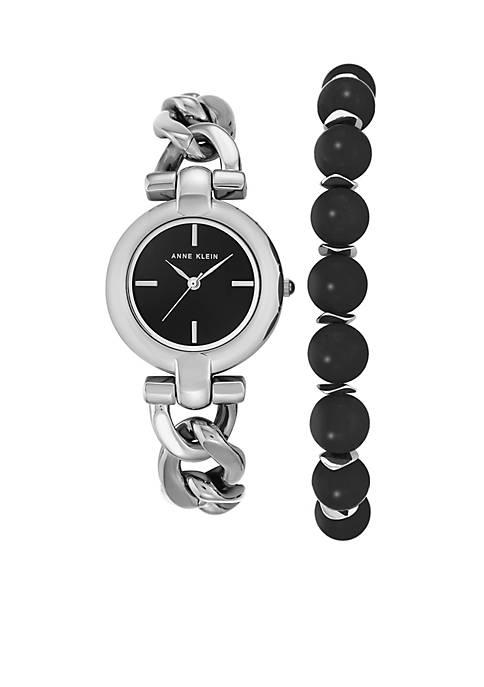 Anne Klein Silver-Tone Onyx Bead Bracelet and Watch