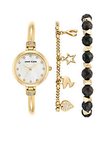 Anne Klein Gold-Tone Labrodite Crystal Bead Bracelet Watch