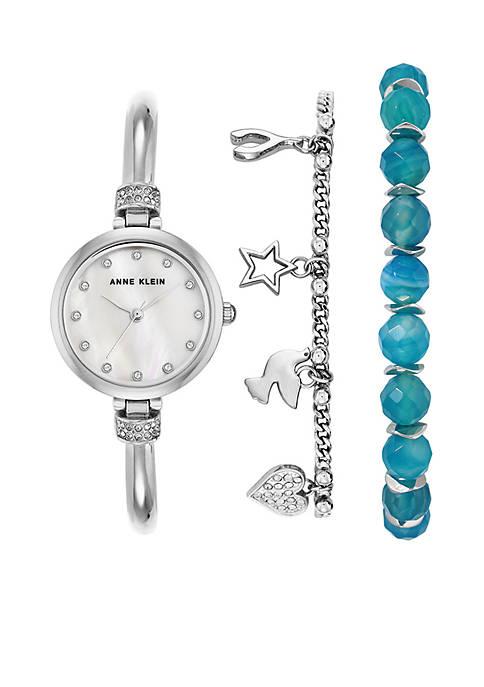 Anne Klein Silver-Tone Blue Agate Box Set