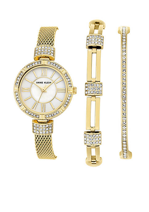 Anne Klein Gold-Tone Crystal Bangle, Bracelet and Watch