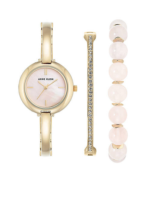 Anne Klein 3-piece Gold Rose Quartz Box Watch