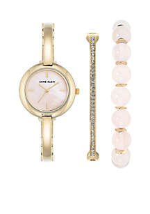 3-piece Gold Rose Quartz Box Watch Set