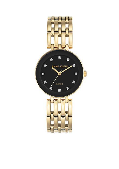 Anne Klein Womens Gold-Tone Diamond Dial Bracelet Watch