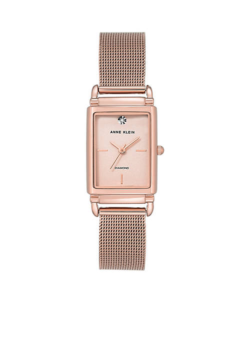 Anne Klein Womens Rose Gold-Tone Diamond Dial Mesh