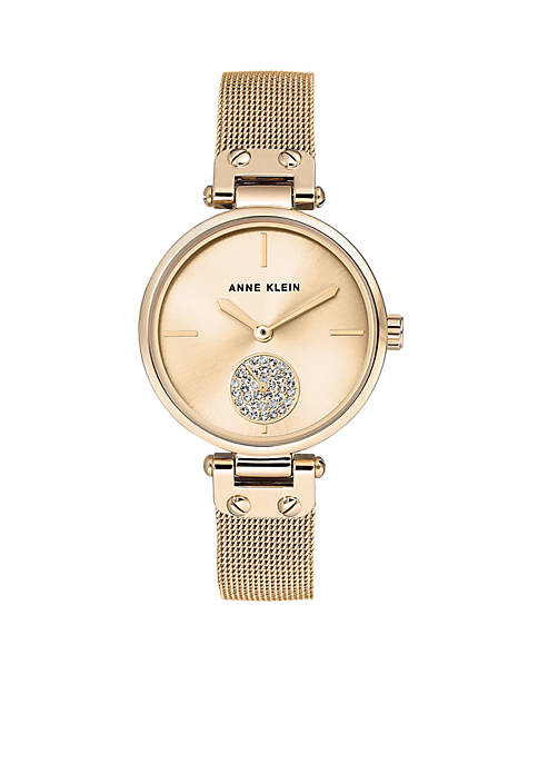 Gold-Tone Crystal Metal Watch