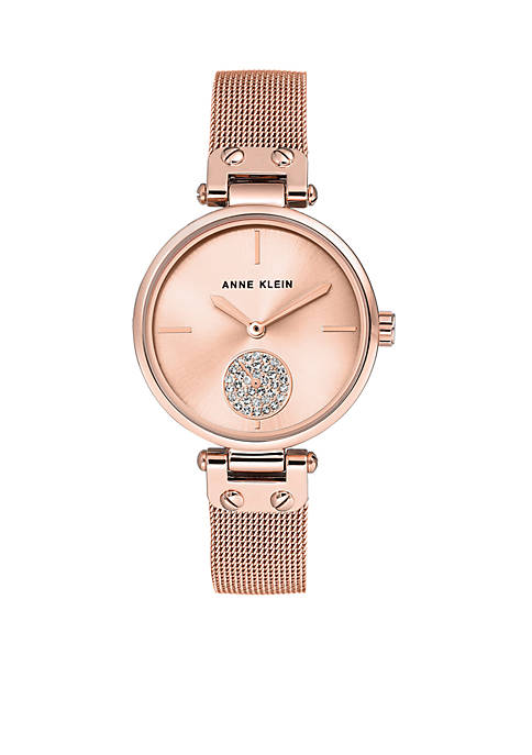 Anne Klein Rose Gold-Tone Crystal Metal Watch