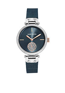 Two-Tone Silver & Rose Gold-Tone Mesh Watch