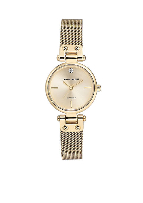 Anne Klein Gold-Tone Diamond Dial Bracelet Watch