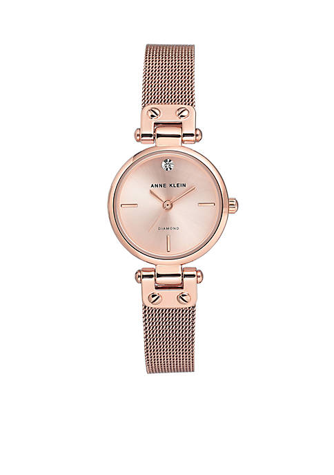 Anne Klein Stainless Steel Diamond Dial Bracelet Watch