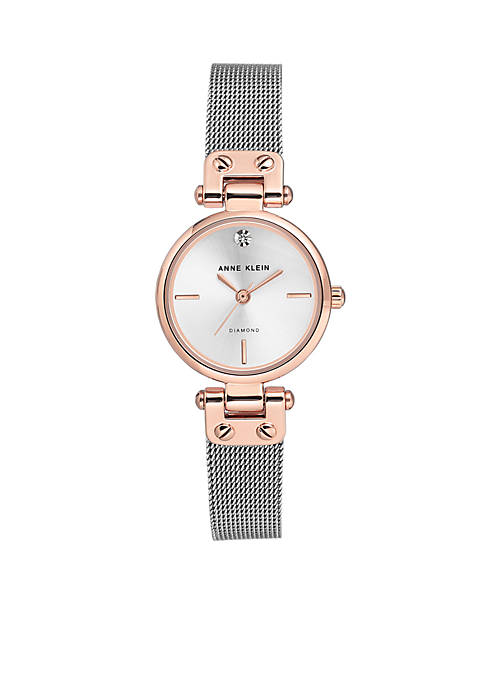 Anne Klein Stainless Steel Diamond Dial Mesh Bracelet