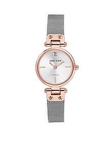 Stainless Steel Diamond Dial Mesh Bracelet Watch