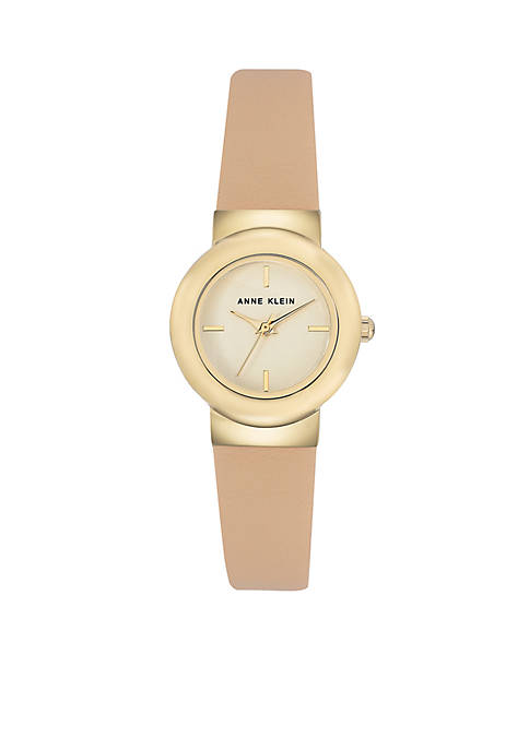 Anne Klein Womens Gold-Tone Leather Watch