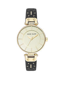 Gold-Tone Leather Strap Watch