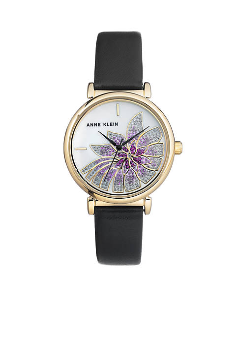 Anne Klein Womens Gold-Tone Purple Flower Leather Watch