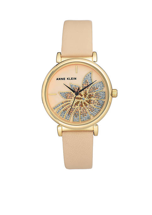 Anne Klein Womens Gold-Tone Blush Flower Leather Watch