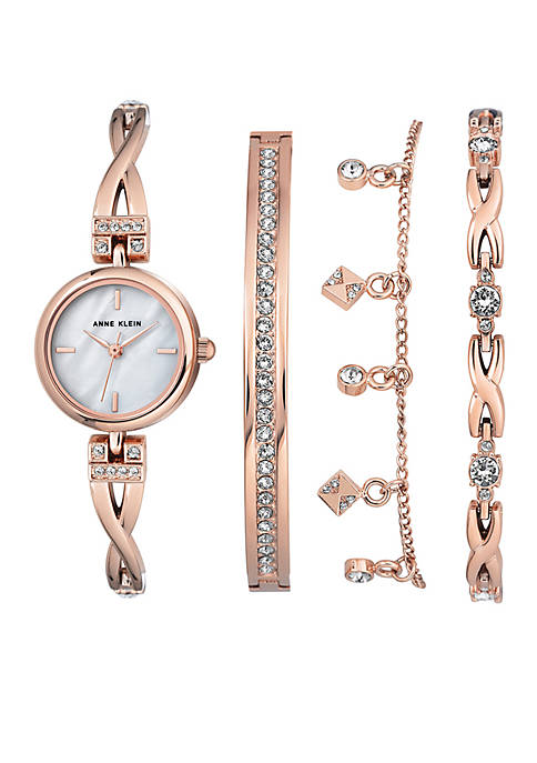 Anne Klein Rose Gold-Tone Crystal Watch and Bracelet
