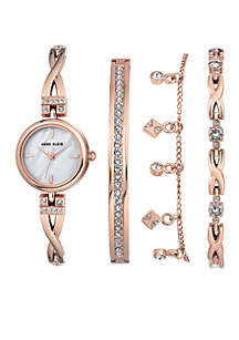 Anne Klein Rose Gold-Tone Crystal Watch and Bracelet Boxed Set