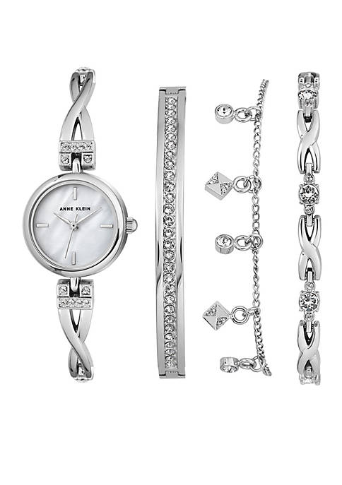 Anne Klein Silver-Tone Crystal Watch and Bracelet Boxed