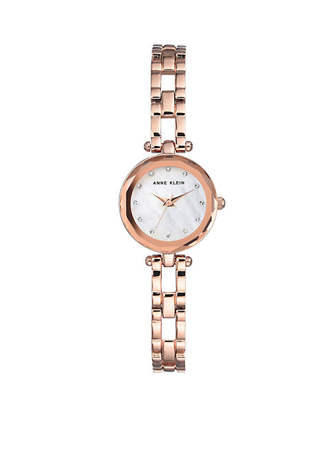 Anne Klein Womens Rose Gold-Tone Mother of Pearl