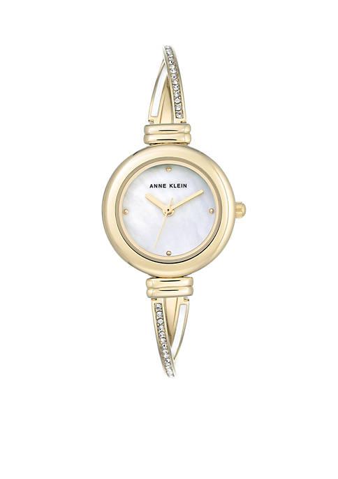 Anne Klein Womens Gold-Tone Crystal Metal Watch