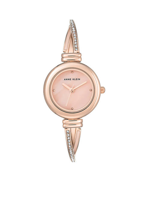 Anne Klein Womens Rose Gold Crystal Metal Watch