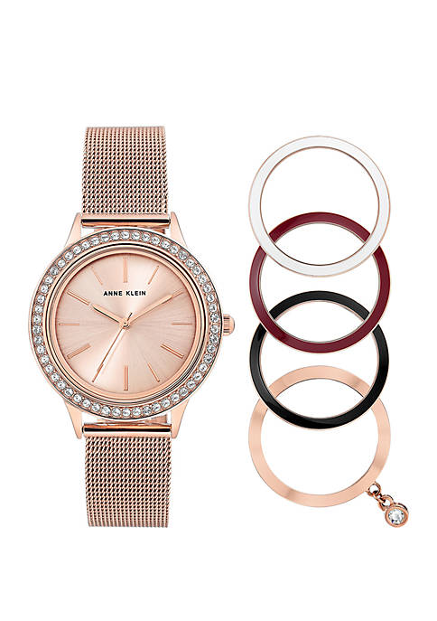 Anne Klein Rose Gold-Tone Mesh Watch With Bezels