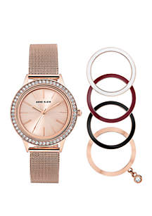 Rose Gold-Tone Mesh Watch With Bezels Set