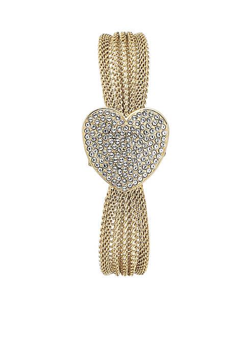 Anne Klein Womens Gold-Tone Crystal Heart Bracelet Watch