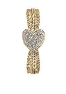 Women's Gold-Tone Crystal Heart Bracelet Watch