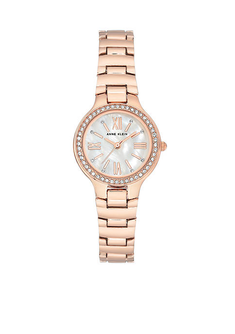 Anne Klein Rose Gold-Tone Crystal Bracelet Watch