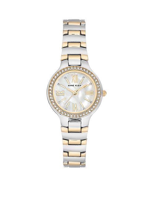 Anne Klein Two-Tone Crystal Bracelet Watch