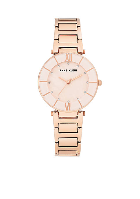 Anne Klein Rose Gold-Tone Mother-Of-Pearl Dial Bracelet Watch